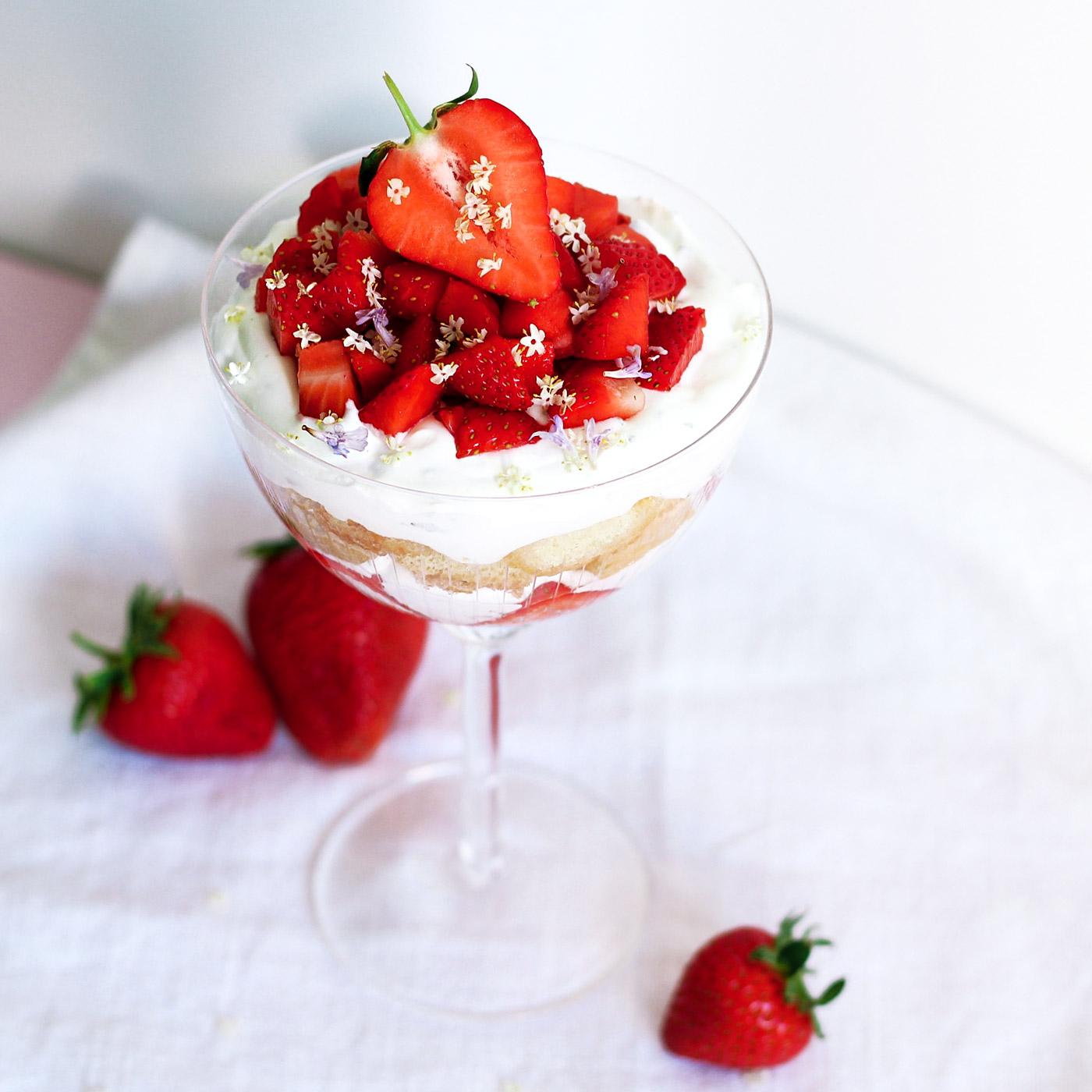 Erdbeer-Tiramisu mit Gundermann und Holunderblütensirup